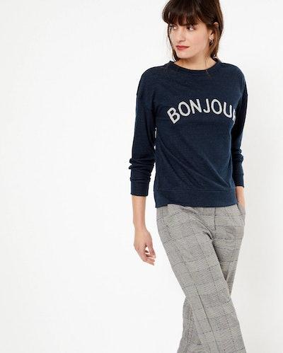 Bonjour Slogan Straight Fit Sweatshirt