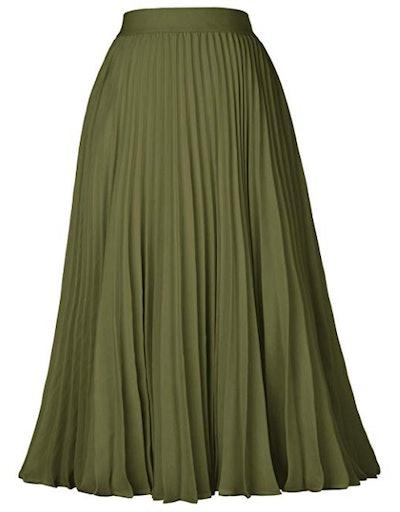 Kate Kasin Women's High Waist Pleated A-Line Swing Skirt