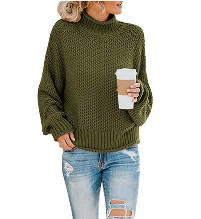 Saodimallsu Womens Turtleneck Oversized Sweaters