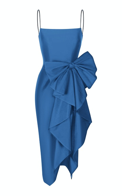 Draped Bow Midi Dress