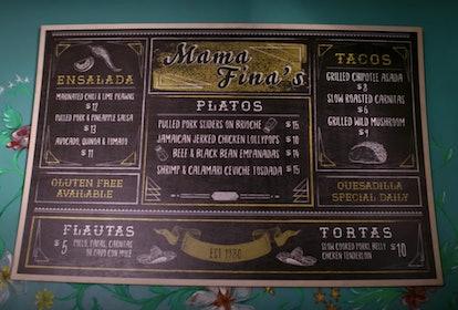 The Mama Fina's menu in 'Gentefied'