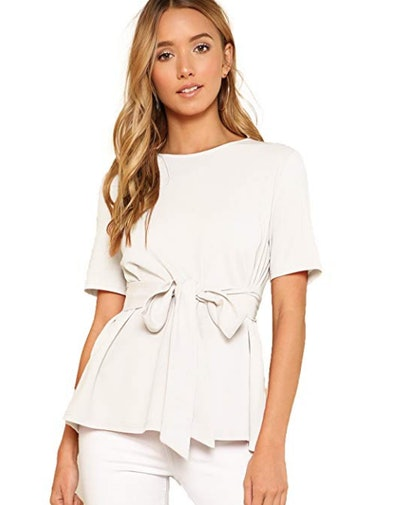 ROMWE Women's Casual Self Tie Summer Round Neck Short Sleeve Blouse Tops