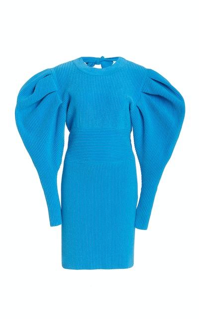 Puff Sleeve Knit Mini Dress