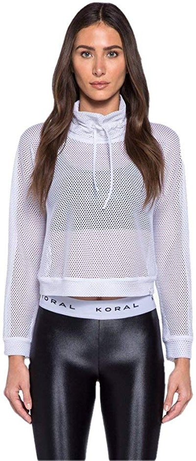 Womens Pump Open Mesh Funnel Neck Pullover