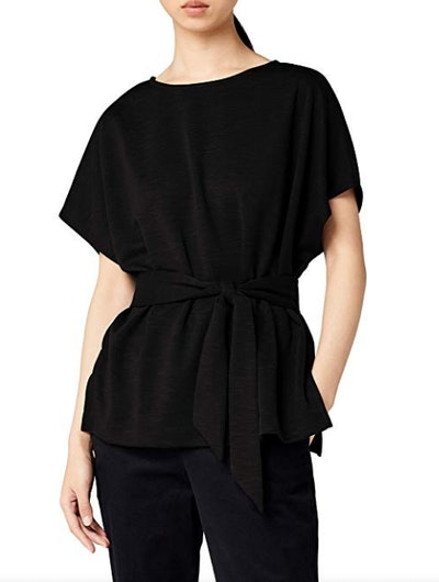 Amazon Brand - Meraki Women's Relaxed Fit Jersey Tie Front Top