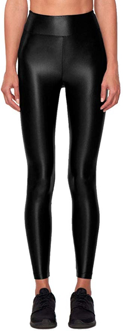 Lustrous High Rise Legging Black Womens Active Sparkle Yoga Leggings