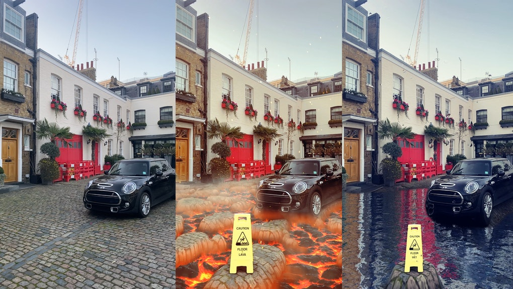 Snapchat's new ground transformation Lenses make the ground look like lava or water.