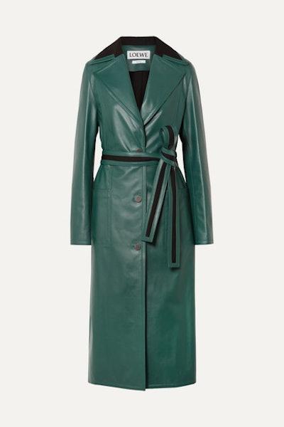 Oversized Paneled Leather Coat