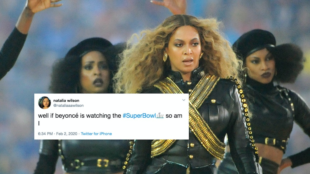 Beyoncé performs on the Super Bowl halftime show stage.