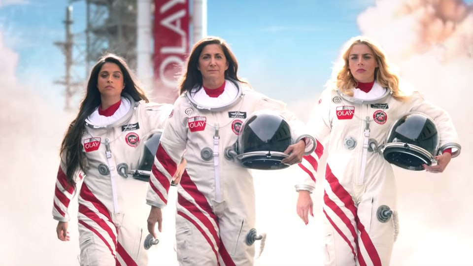"Olay's Super Bowl commercial asks, ""Is there enough space in space for women?"""