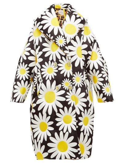 Daisy-Print Down-Filled Coat