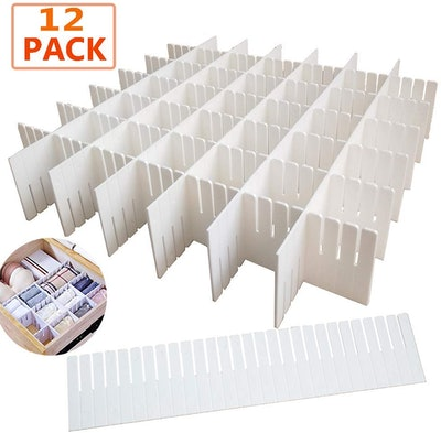 OJYUDD Plastic Grid Drawer Dividers (12 Pieces)