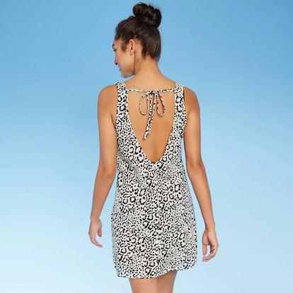 Women's Animal Scoop Back Cover Up Dress - Black