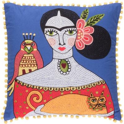 Frida Kahlo and Orange Cat Cushion