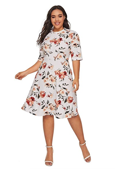ROMWE Women's Plus Size Midi Dress