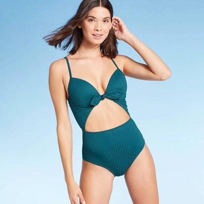 Women's Shore Light Lift Ribbed Tie Front Cut Out One Piece Swimsuit