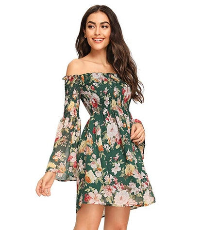 Romwe Women's Off Shoulder Dress With Trumpet Sleeves