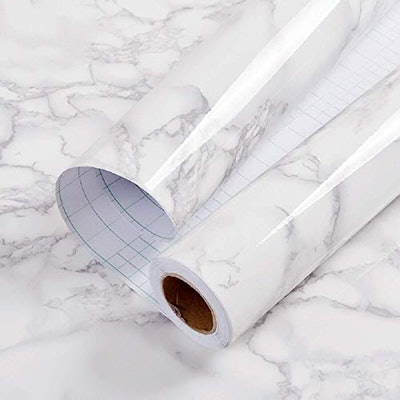 """practicalWs 11.8"""" x78.7""""Marble Paper Granite Gray/White Roll"""