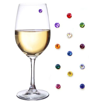 Simply Charmed Swarovski Crystal Magnetic Wine Glass Charms (Set of 12)