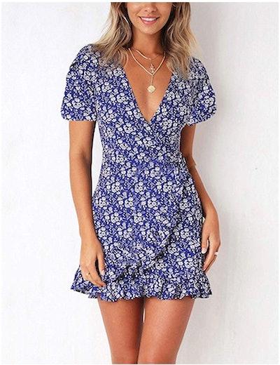Relipop Summer Women Short Sleeve Print Dress