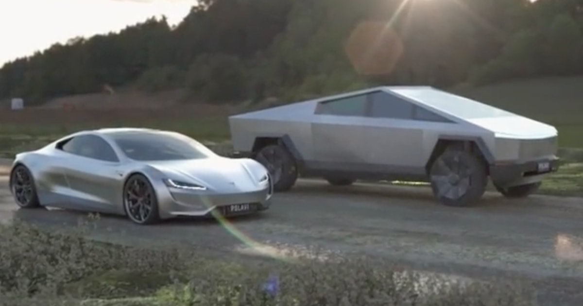 Tesla Cybertruck vs. Roadster: watch the two EVs face off in fan render