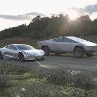 Tesla Cybertruck vs. Roadster: watch the two EVs face off in fan render
