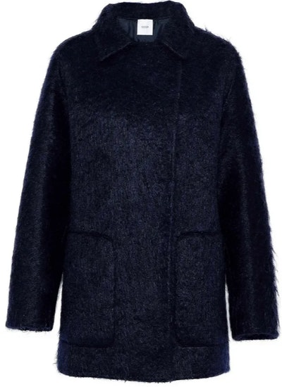 Leather-trimmed mohair-blend coat
