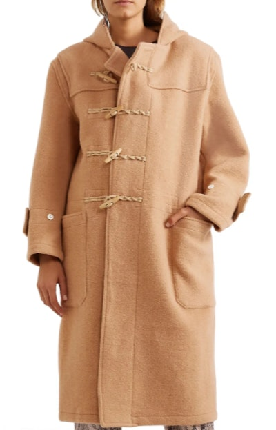Brushed wool-felt hooded coat