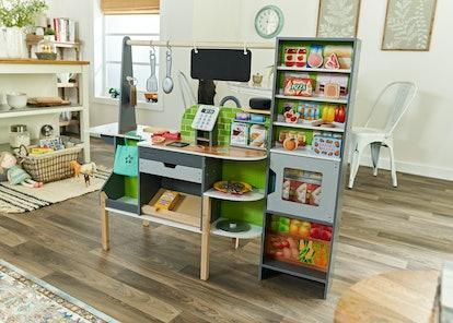 interactive toy kitchen, interactive toy supermarket, alexa