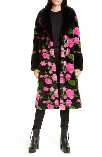 Liliana Flower Print Faux Fur Coat