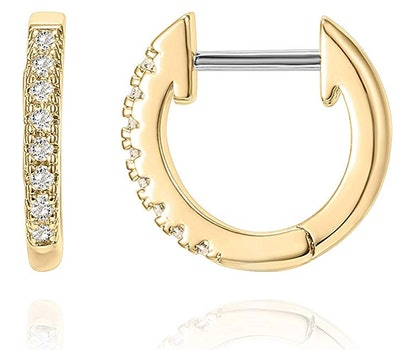 Gold Plated Cubic Zirconia Cuff Earrings by PAVOI