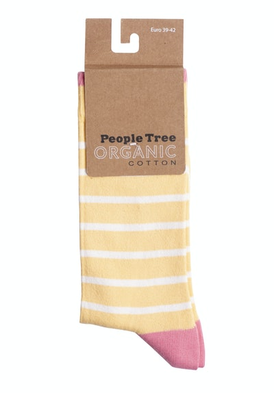 Striped Socks In Yellow & Pink
