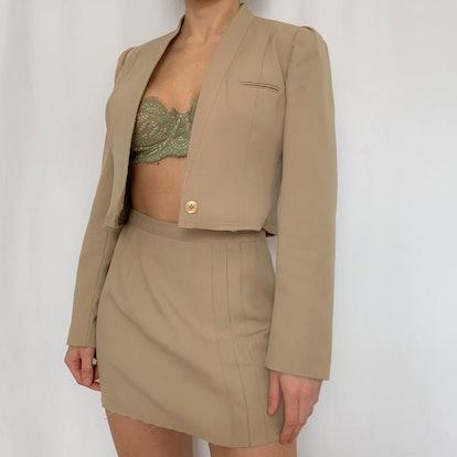 Vintage Tan Mini Skirt Suit