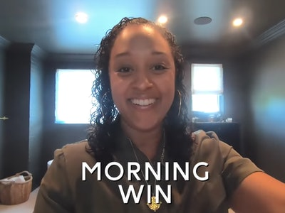 Tia Mowry's daughter Cairo wakes her up at 6:15 in the morning.