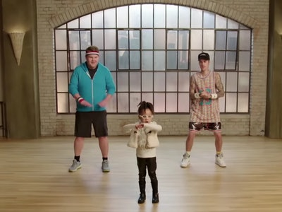 James Corden and Justin Bieber are taught dance moves by toddlers in a hilarious segment on an episode of 'The Late Late Show With James Corden'.