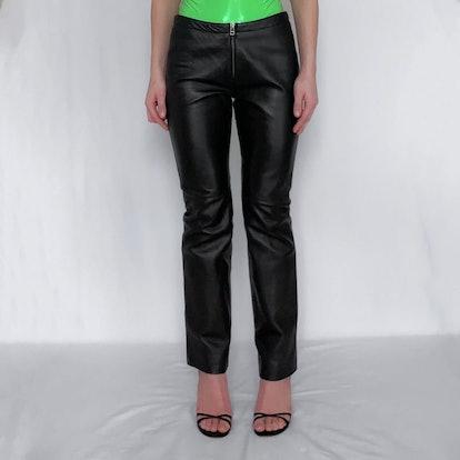 90's Zip Front Leather Pants Black