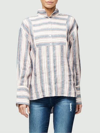 Clean Collared Linen Bib Shirt in Natural White Multi
