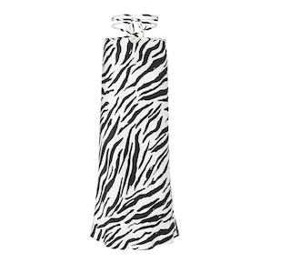 Zebra-Print Silk Skirt