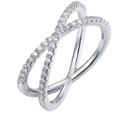 PAVOI 14K Gold Plated CZ Criss Cross Ring