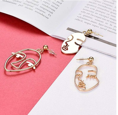 MOOKOO Face Abstract Gold Statement Earrings (3 Pairs)