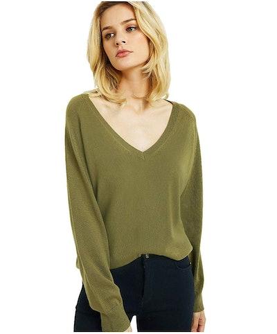 Kallspin Deep V-Neck Cashmere Wool Blend Sweater