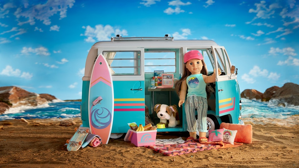 American girl 2020 joss Kendrick and her Volkswagen bus