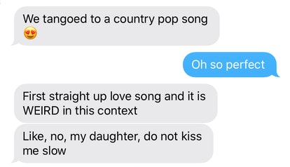 An actual text from my husband from the event in question. He kept me up to date on everything that ...