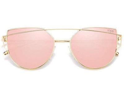 SOJOS Cat Eye Mirror Sunglasses