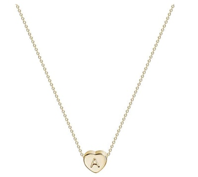 Fettero Tiny Gold Initial Heart Necklace