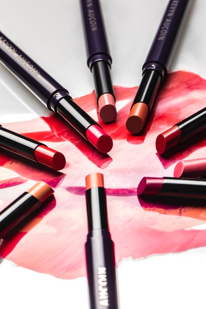 Close up image and swatches of Kevyn Aucoin's Unforgettable Lipstick.