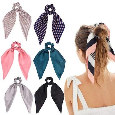 Aileam Satin Hair Scrunchies (6-Pack)