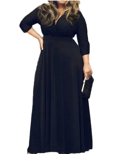 POSESHE V-Neck Long Sleeve Maxi Dress