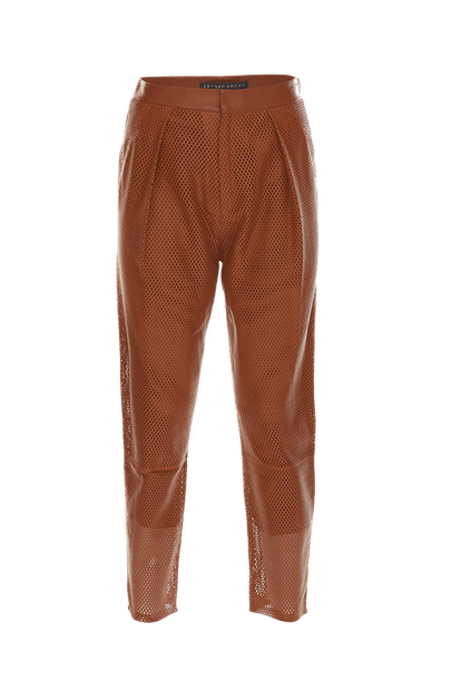 Pleated Perforated Leather Pants