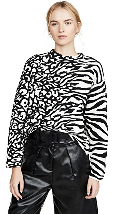 Animal Jacquard Cropped Pullover